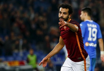 AS Roma's Salah celebrates after scoring against Empoli during their Italian Serie A soccer match at the Olympic stadium in Rome
