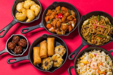 中華料理 一斉集合 Delicious Chinese food group photo