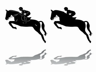 silhouette of rider on horseback, vector draw