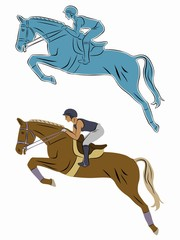 illustration of rider on horseback, vector draw