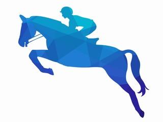 illustration of rider on horseback, vector draw