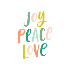 Vector Brush Lettering Joy Peace Love Greeting