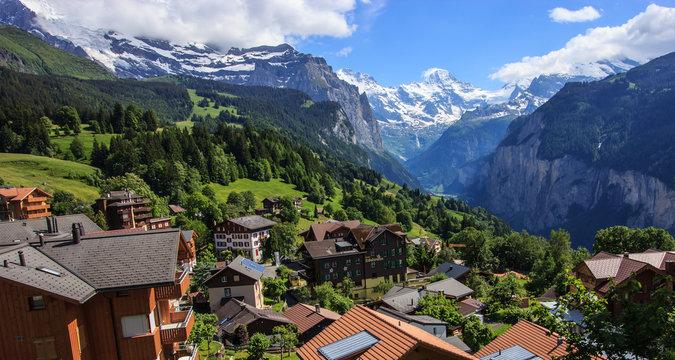 View of Wengen town, Jungfrau and Lauterbrunnen valley, Switzerland