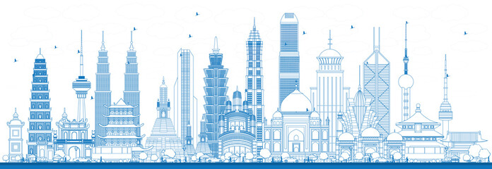 Outline Famous Landmarks in Asia. Wall mural