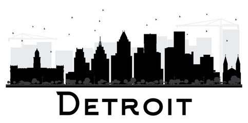 Detroit City skyline black and white silhouette.