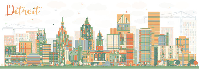 Abstract Detroit Skyline with Color Buildings.