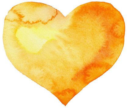 watercolor yellow heart