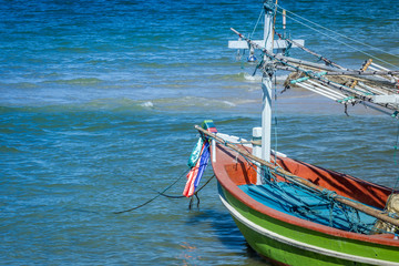 the front of the fisherman boat in the sea