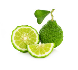 Fresh bergamot fruit with leaf isolated on white background