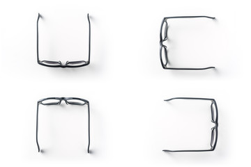 Top view of vintage glasses on white background desk for mockup, collection of diverse angle.