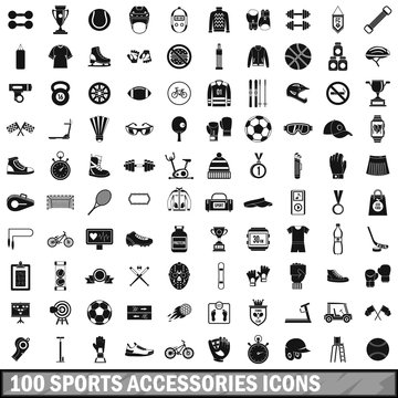 100 sport accessories icons set, simple style