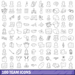 100 team icons set, outline style