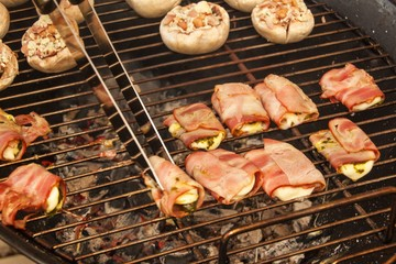 Grilled bacon with cheese and spinach. Summer Grill Party.