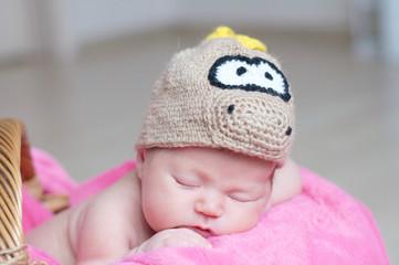 Cute happy newborn baby in dragon knitted cap sleeping in basket on pink blanket. Infant sleeping portrait.