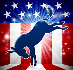 Donkey Democrat Political Mascot Kicking