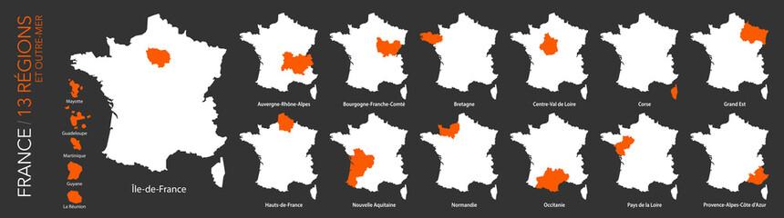 Carte de France / 13 régions et outre-mer