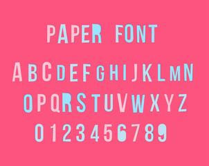 Vector modern colorful paper font with numbers