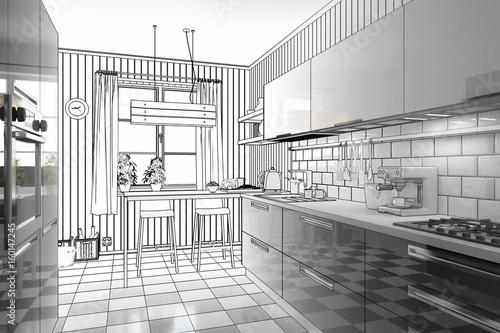 meine neue k che zeichnung stockfotos und lizenzfreie bilder auf bild 160147245. Black Bedroom Furniture Sets. Home Design Ideas