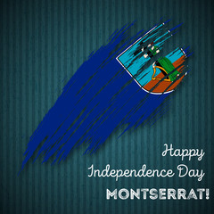 Montserrat Independence Day Patriotic Design. Expressive Brush Stroke in National Flag Colors on dark striped background. Happy Independence Day Montserrat Vector Greeting Card.