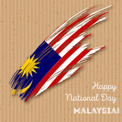 Malaysia Independence Day Patriotic Design. Expressive Brush Stroke in National Flag Colors on kraft paper background. Happy Independence Day Malaysia Vector Greeting Card.