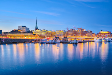 Stockholm cityscape at night in Sweden