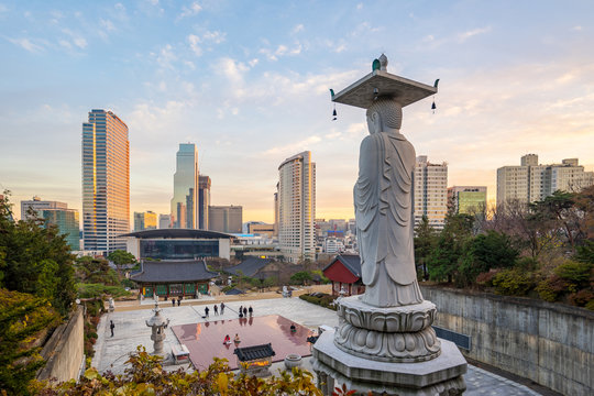 Seoul city with sunset in South Korea
