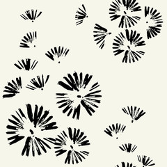 Seamless pattern with brush strokes. Seamless pattern with black doodle circles randomly distributed . Flowers, dandelions, fireworks.