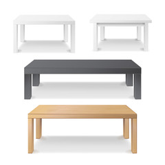Empty Table Set Vector. Wooden, Plastic, White, Black. Isolated Furniture, Platform. Realistic Vector Illustration.
