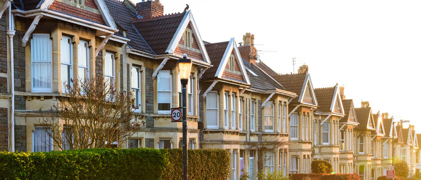 Typical terraced houses in Bristol, England