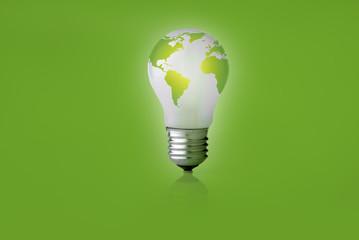 Energy saving light on a green background.