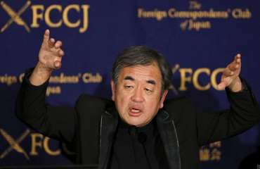 Kuma, an architect and the designer of a New National Stadium, speaks during a news conference at the Foreign Correspondents' Club of Japan in Tokyo