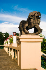 Lion-dog guardian (komainu) at the entrance of Taoist temple in Cebu, Philippines