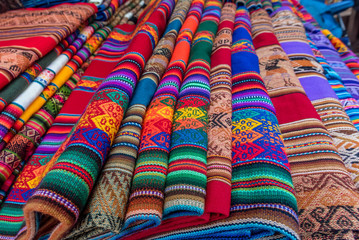 Peruvian traditional wares for sale in Pisac, Peru