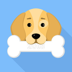 2018 year of the dog. The dog beagle keeps a bone in the mouth on a blue background. A place for your projects. A sweet animal. Cartoon style. Vector illustration in a flat style
