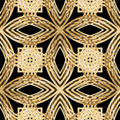 Abstract flowers, texture gold bronze, lace. Seamless pattern. Vector illustration.
