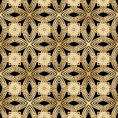 Abstract flowers, texture gold bronze, lace. Seamless pattern.   illustration.