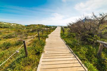 Boardwalk in Porto Giunco shore, Villasimius