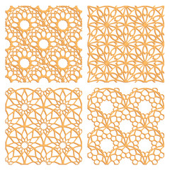 Laser cutting set. Woodcut vector patterns. Plywood lasercut rising sun design. Seamless patterns for printing, engraving, paper, wood, metal cutting. Stencil ornament.