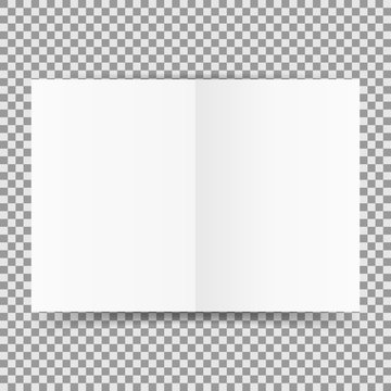 Simple white open card template isolated on transparent background. Vector illustration.