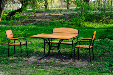 Wooden table and chairs outdoor