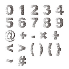 Black white stipple dots texture font typographic letters number and notation