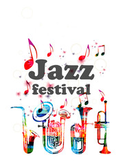 Music poster for jazz festival with music instruments. Colorful euphonium, double bell euphonium, saxophone and trumpet with music notes isolated vector illustration design