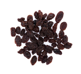 Dried raisins on a white background. top view