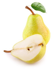 Whole yellow pear fruit with green leaf and half pear isolated on white background