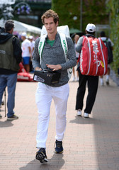 Great Britain's Andy Murray arrives for practice