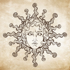 Hand drawn antique style sun with face of the greek and roman god Apollo. Flash tattoo or print design vector illustrarion