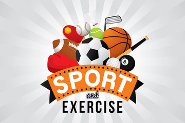 Vector sport and exercise club with sports ball and equipment.
