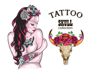 Flower Tattoo Design Shop Tattooed Lady, Skull of a cow with horns, decorated with flowers