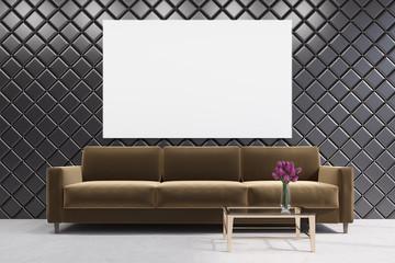 Brown sofa in a diamond pattern room