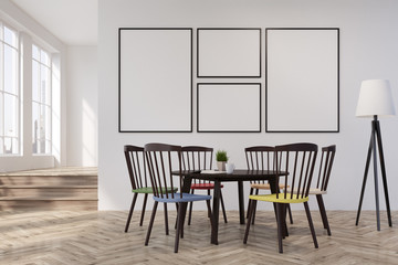 White wall dining room or office, round table
